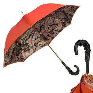Зонт-трость Pasotti Terracota Paisley Black Pelle фото-1