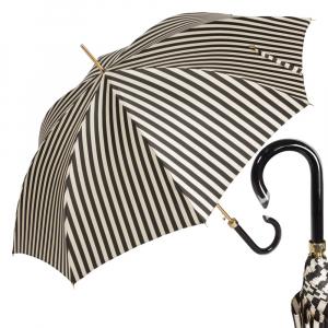 Зонт-трость Pasotti Uno Stripes Nero Beige Plastica фото-1