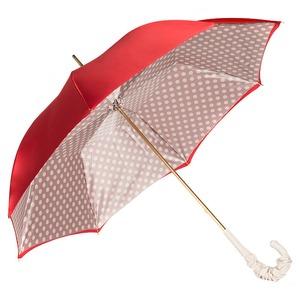 Зонт-трость Pasotti Rosso Pois Ivory Pelle фото-5