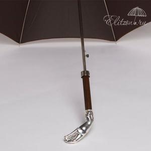 Зонт-трость Pasotti Jaguar Silver Cell Bordo    фото-3