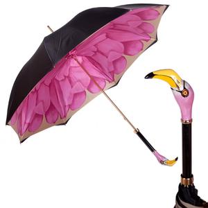 Зонт-трость Pasotti Nero Georgin Rosa Flamingo фото-1
