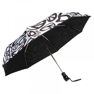 Зонт складной Moschino 8025-OCB Peace Signs White/Black фото-2