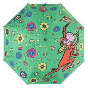 Зонт складной M 8261-OCM Cartoon Monkey Green Multi фото-3