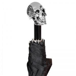 Зонт складной Pasotti Auto Capo Silver Sculls Black фото-3