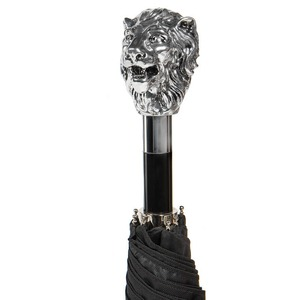 Зонт складной Pasotti Auto Leone Silver Oxford Black фото-3
