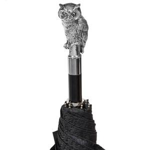 Зонт складной Pasotti Auto Owl Silver Codino Black фото-4