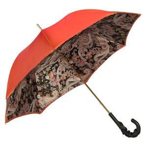 Зонт-трость Pasotti Terracota Paisley Black Pelle фото-3