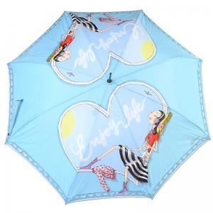 Зонт-троcть Moschino 262-61AUTOP Olivia enjoy life blue long фото-2