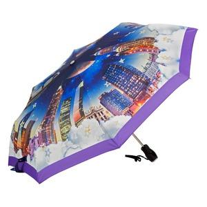 Зонт складной Moschino 7002-OCQ Romantic City Purple фото-2