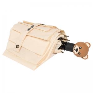 Зонт складной Moschino 8002-OCI Teddy Logo Cream фото-3