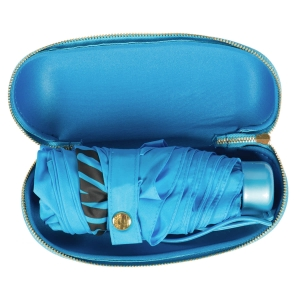 Зонт складной Moschino 8020-SUPERMINIP HEART LOGO LIGHT BLUE фото-3