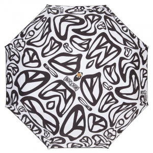 Зонт складной Moschino 8025-OCB Peace Signs White/Black фото-3