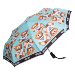 Зонт складной Moschino 8156-OCP Photo Bear Light Blue фото-2