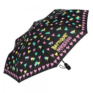 Зонт складной Moschino 7110-OCA Spray Hearts Black фото-2