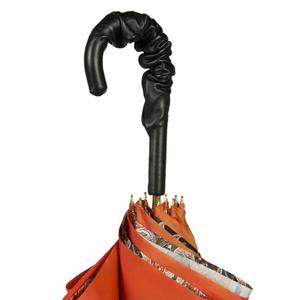 Зонт-трость Pasotti Terracota Paisley Black Pelle фото-4