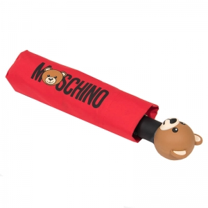 Зонт складной Moschino 8002-OCC Teddy Logo Red фото-4