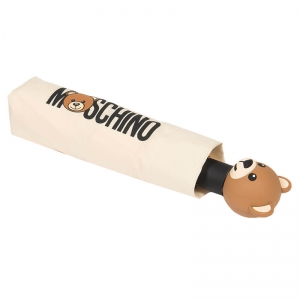 Зонт складной Moschino 8002-OCI Teddy Logo Cream фото-4
