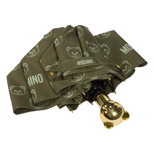 Зонт складной Moschino 8043-OCM Monobear Gold Military Green фото-3