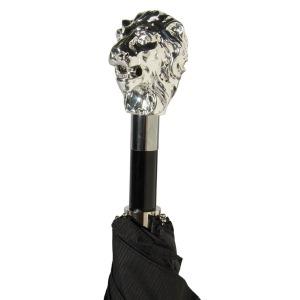 Зонт складной Pasotti Auto Leone Silver StripesS Black фото-3