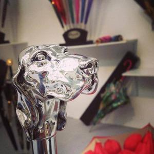 Зонт-трость Pasotti Fido Silver Rombes Black фото-4