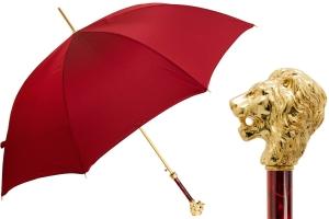 Зонт-трость Pasotti Leone Gold Oxford Rosso Fodero Anello фото-1