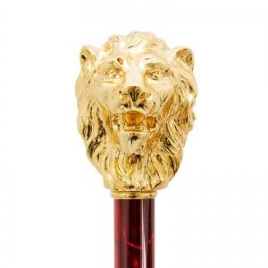 Зонт-трость Pasotti Leone Gold Oxford Rosso Fodero Anello фото-2