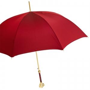 Зонт-трость Pasotti Leone Gold Oxford Rosso Fodero Anello фото-3