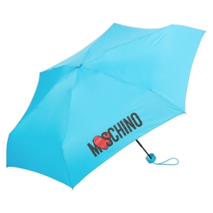 Зонт складной Moschino 8020-SUPERMINIP HEART LOGO LIGHT BLUE фото-2