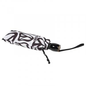 Зонт складной Moschino 8025-OCB Peace Signs White/Black фото-5