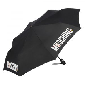 Зонт складной Moschino 8026-OCA Betty Bimbo Logo Black фото-2