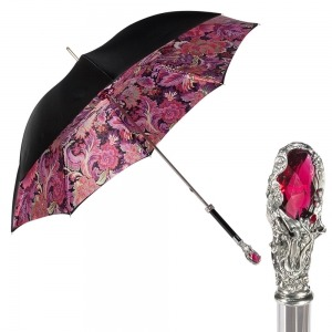 Зонт-трость Pasotti Nero Motivi Fiore Rosso Lux фото-1