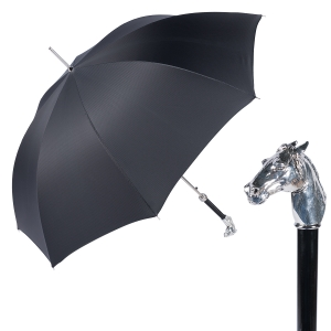 Зонт-трость Pasotti Horse Silver StripesS Black фото-1
