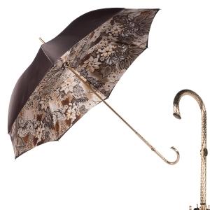 Зонт-трость Pasotti Marrone Novita Oro фото-1