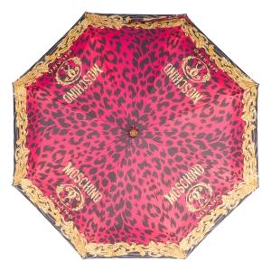 Зонт складной Moschino 8009-OCJ Logo animalier Fuxia фото-3