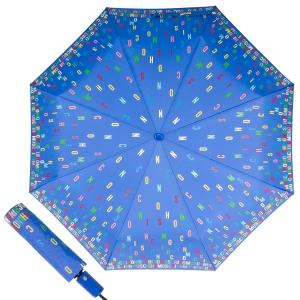 Зонт складной Moschino 8017-OCP Letters Lightblue фото-1