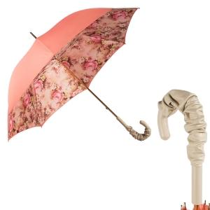 Зонт-трость Pasotti Magenta Daizy Pelle Ivory фото-1