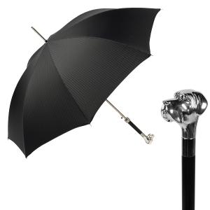 Зонт-трость Pasotti Labradore Silver Codino Black фото-1