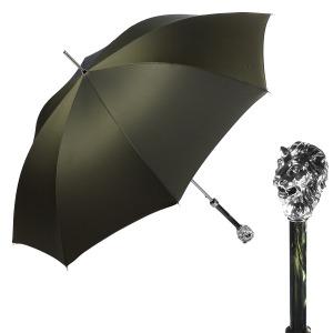 Зонт-трость Pasotti Leone Silver  Oxford Oliva  Fodero Anello фото-1