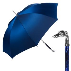 Зонт-трость Pasotti Bracco Silver Oxford Blu  Fodero Anello фото-1