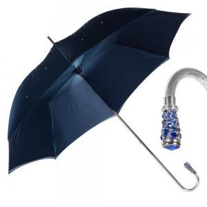Зонт-трость Pasotti Swarovski Blu Cristall Oro фото-1