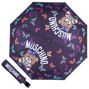 Зонт складной Moschino 8129-OCA Butterfly Bear Black фото-1
