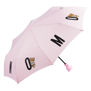 Зонт складной Moschino 8068-OCN Bear in the Logo Pink фото-2