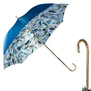 Зонт-трость Pasotti Becolore Blu Tatina Dentell Oro фото-1