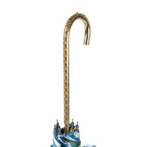 Зонт-трость Pasotti Becolore Blu Tatina Dentell Oro фото-5