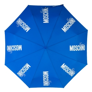 Зонт складной Moschino 8730-OCF Couture Gold Blue фото-3