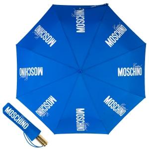 Зонт складной Moschino 8730-OCF Couture Gold Blue фото-1