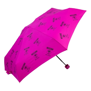 Зонт складной Moschino 8560-SuperminiJ Logo Allover Fuxia фото-2