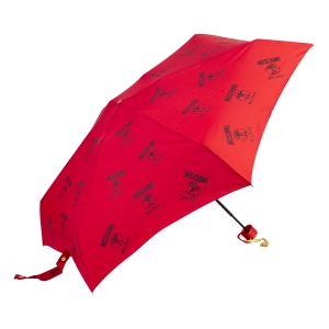 Зонт складной Moschino 8560-SuperminiC Logo Allover Red фото-2