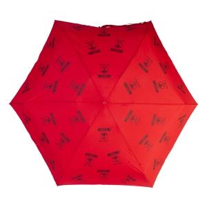 Зонт складной Moschino 8560-SuperminiC Logo Allover Red фото-3