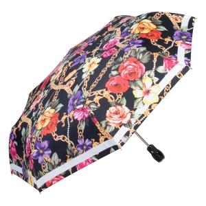 Зонт складной Moschino 7700-OCA Flowers and Chains Black фото-2